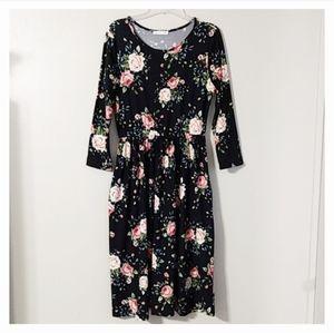 Reb & J 220 Black Floral Modest Midi Dress XL